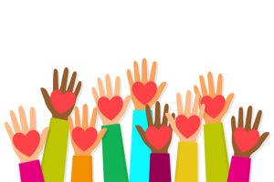 Viele bunte Hände mit Herzen darauf - ava - Online-Marktplatz für persönliche Assistenz