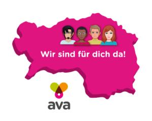 """Steiermark-Karte mit ava Logo und Text """"Wir sind für dich da!"""""""