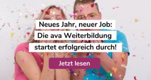 """Foto von zwei jungen Menschen beim Feiern mit Konfetti und Text: """"Neues Jahr, neuer Job: Die ava Weiterbildung startet erfolgreich durch!"""""""